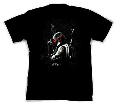 A black t-shirt with an image in the likeness of Boba Fett