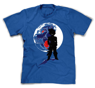 A blue t-shirt with an image in the likeness of Goku from Dragon Ball Z standing in front of a moon with and ape face on it