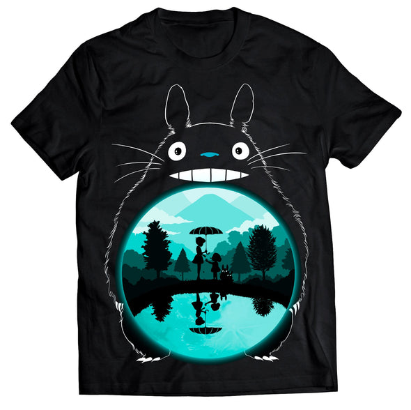 A black t-shirt with an image in the likeness of Totoro from My Neighbor Totoro