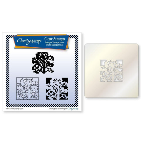Oak Tree Three Way Overlay + STENCIL <br/>Unmounted Clear Stamp Set