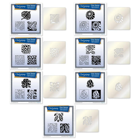 Autumn Collection Three Way Overlay + STENCILS <br/>Unmounted Clear Stamp Sets Bundle