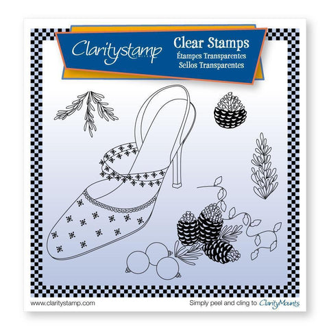 Cherry's Stiletto Shoe & Pine Cones + MASK <br/>Unmounted Clear Stamp Set