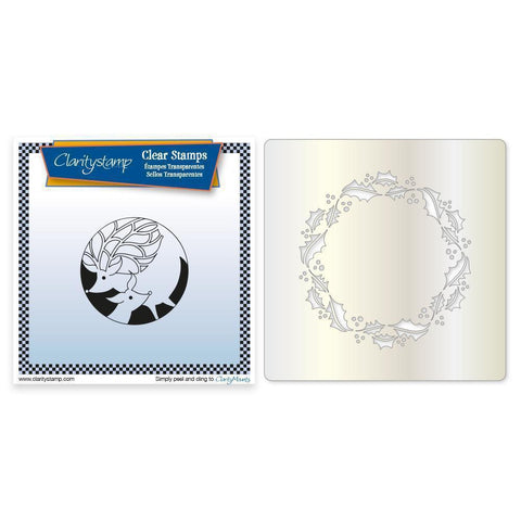 Deer Round <br/>Unmounted Clear Stamp + Holly Wreath Stencil & MASK
