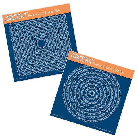 Nested Scallops Circles & Squares <br/>A5 Square Groovi Plate Set