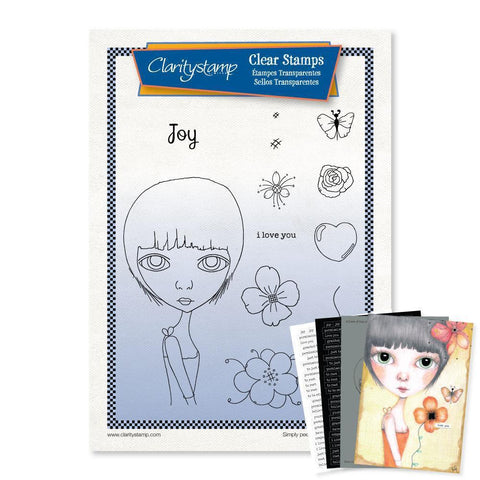 Large Dee's Friends - Joy <br/>Unmounted Clear Stamp Set <br/>+ MASK & 2x Phrase Sheets