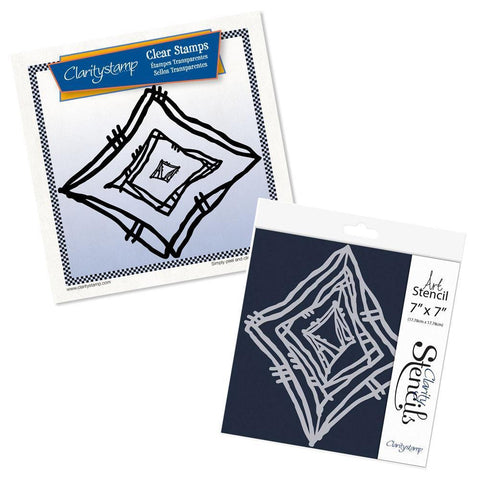 Leonie's Nested Diamond Scribbles <br/>Stamp Set & Stencil Bundle