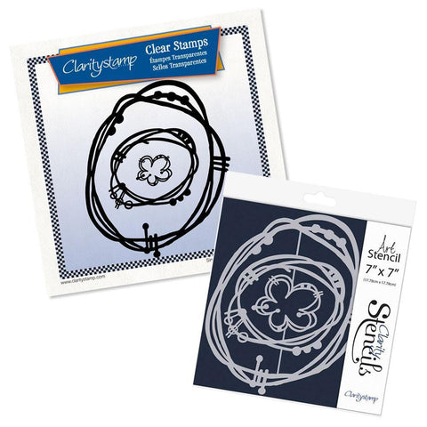 Leonie's Nested Flower Scribbles <br/>Stamp Set & Stencil Bundle