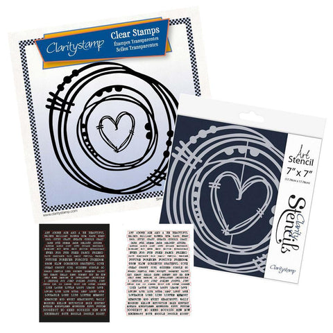 Leonie's Nested Heart Scribbles <br/>Stamps, Stencil & Stickers Bundle