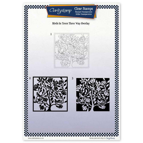 Birds In a Tree Three Way Overlay <br/>Unmounted Clear Stamp Set