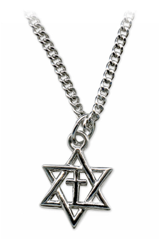 Silver Star of David with Cross Necklace