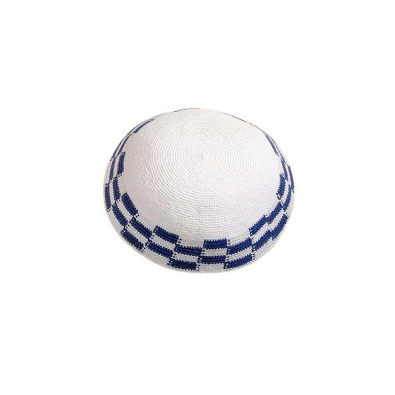 Blue & White Kippah with Checker Squares