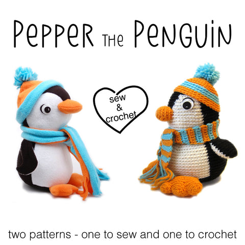 Pepper the Penguin Crochet Amigurumi Pattern and Sewn Stuffed Animal Pattern
