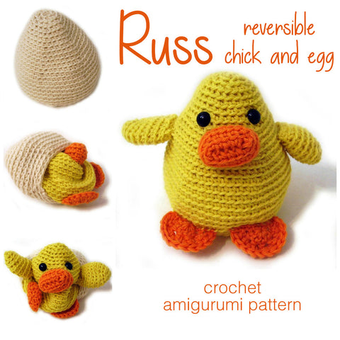Russ the Reversible Chick and Egg Crochet Amigurumi Pattern