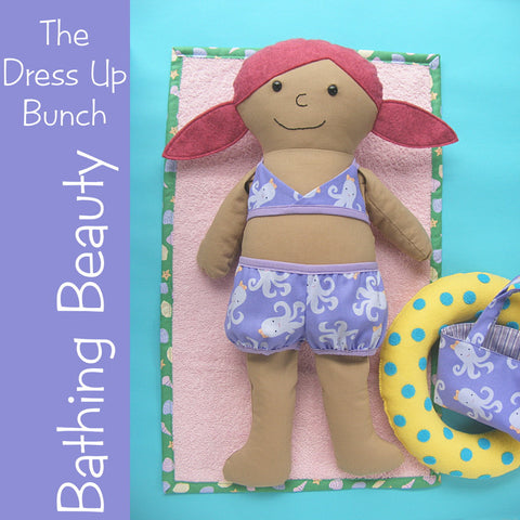 Bathing Beauty Pattern - swimsuit, towel, tote bag and swim ring for Dress Up Bunch dolls