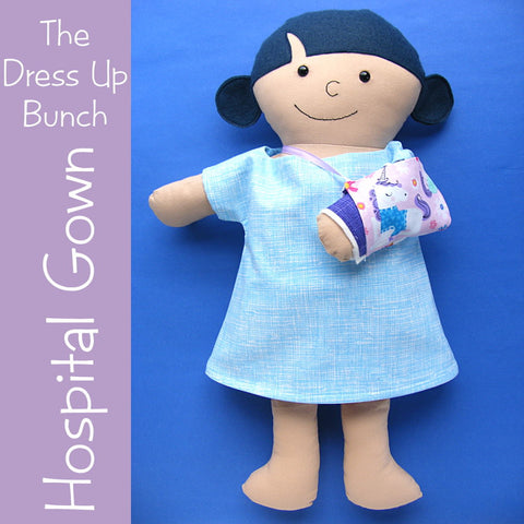 Dress Up Bunch Doll Hospital Gown, Removable Cast and Sling Pattern Set