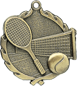 "Tennis Wreath Medal, 1 3/4"" in gold"