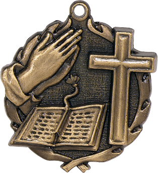 "Bible Cross Wreath Medal, 1 3/4"" in gold"