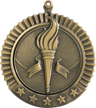"Victory Star Medal, 2 3/4"" in gold"