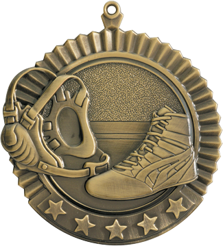 "Wrestling Star Medal, 2 3/4"" in gold"