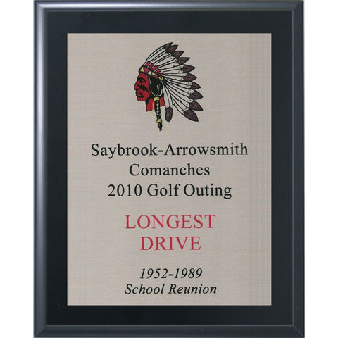 Black Matte Finish Plaque with Silver Aluminum Plate