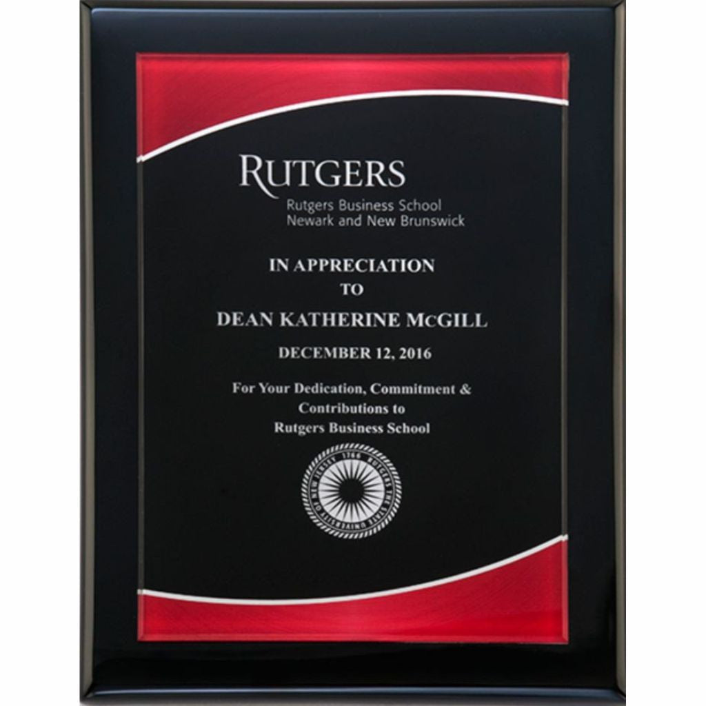 Black Piano Finish Plaque with Red Border Acrylic Plate, Appreciation Award