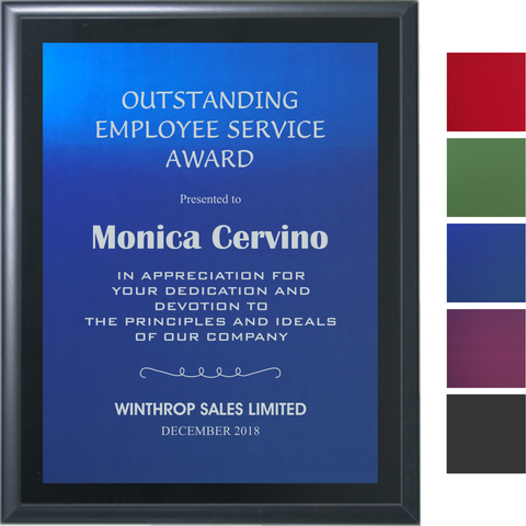 Black Matte Finish Plaque with Colored Aluminum Plate, 5 Sizes, 5 Plate Colors