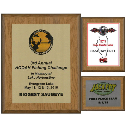 Oak Finish Plaque with Aluminum Plate Collection