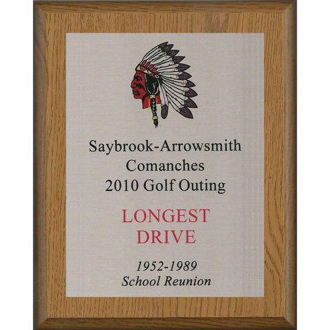 Oak Finish Plaque with Silver Aluminum Plate