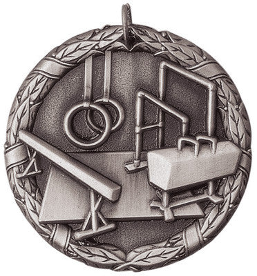 "Gymnastics XR Medal, 2"" in silver"