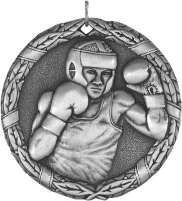 "Boxing XR Medal, 2"" in silver"