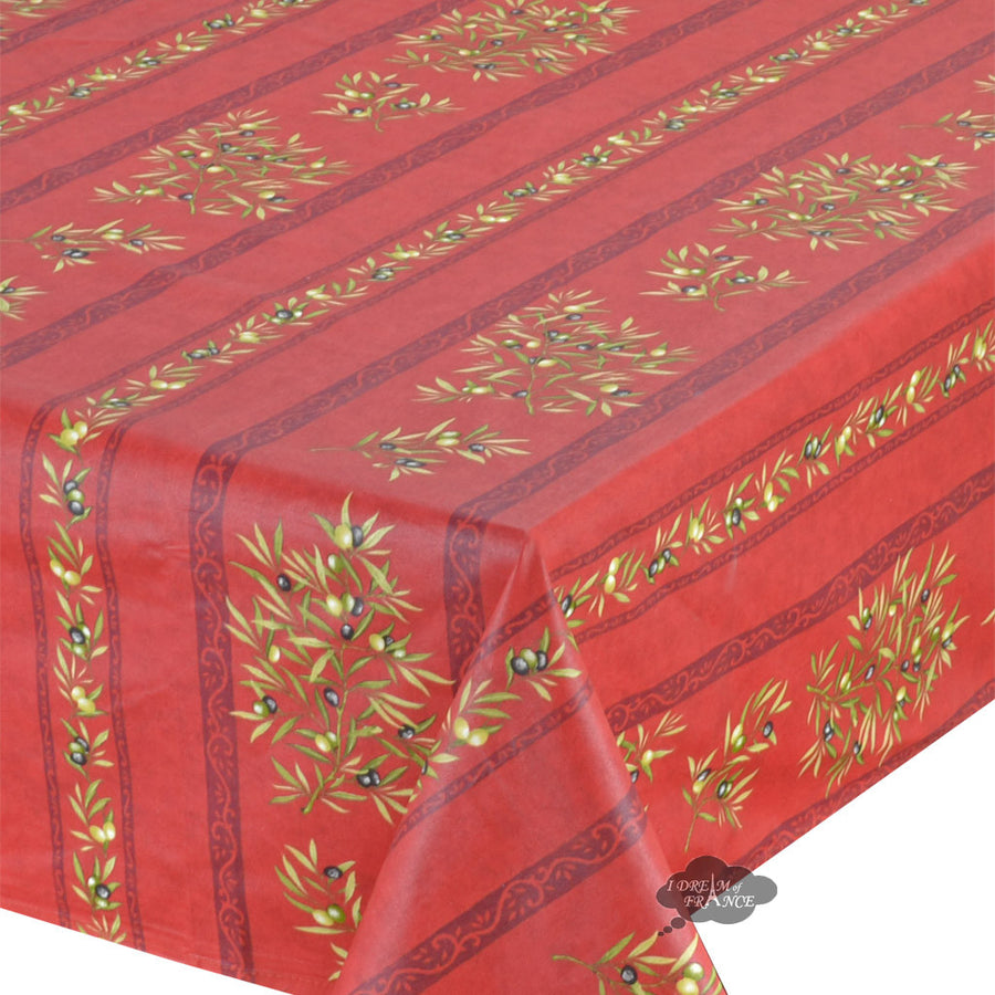 "60x78"" Rectangular Clos des Oliviers Red Coated Cotton Tablecloth by Tissus Toselli"