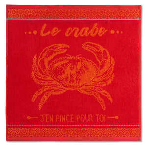 Crab Terry Square Towel by Coucke