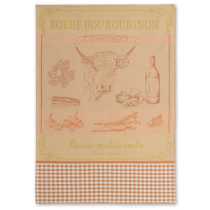 Boeuf (Beef) Bourguignon French Jacquard Dish Towel by Coucke