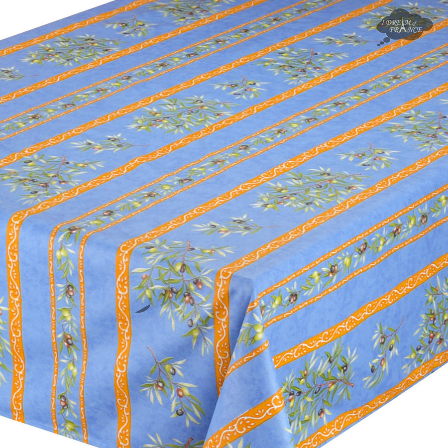 "59"" Square Clos des Oliviers Blue Coated Cotton Tablecloth by Tissus Toselli"