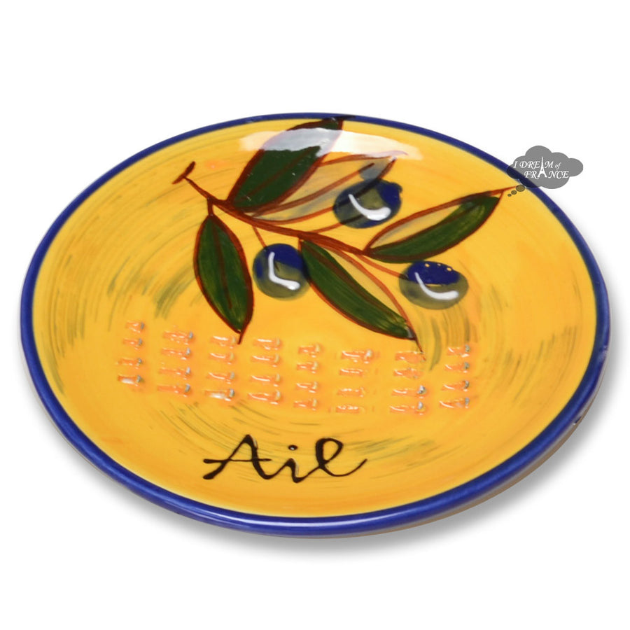 Garlic Grinding Plate - Olives Yellow & Blue