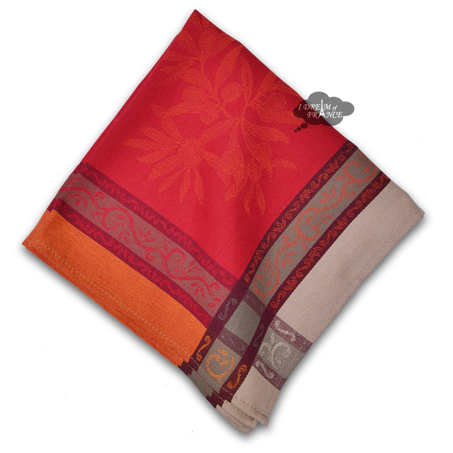 Olive Red French Cotton Jacquard Napkin