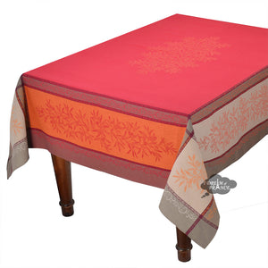 "62x138"" Rectangular Olive Red Jacquard Tablecloth with Teflon"