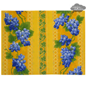 Grapes Yellow Coated Reversible Placemat by Le Cluny