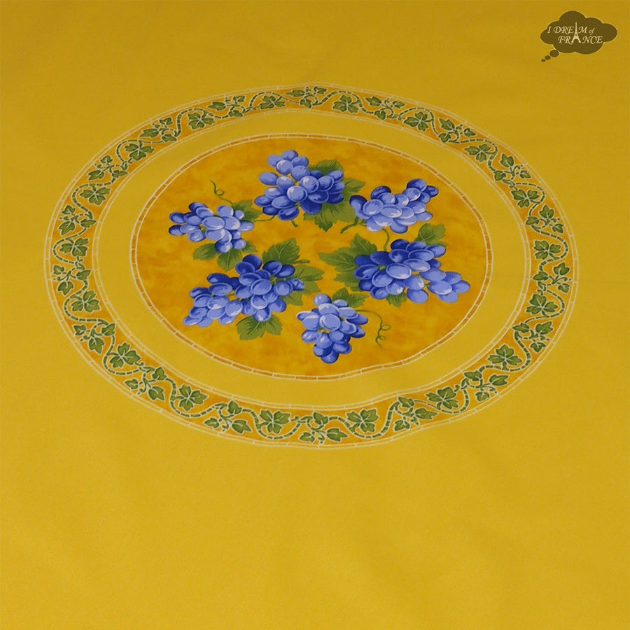 "70"" Round Grapes Yellow Cotton Coated Provence Tablecloth by Le Cluny"