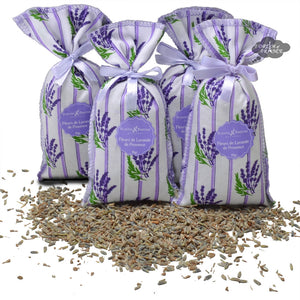 French Lavender sachets with Striped Lavender Fabric - Set of 4