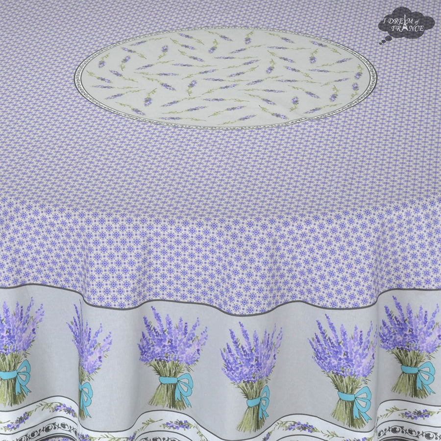 "70"" Round Lavande Lavender Cotton Provence Tablecloth by STOF"