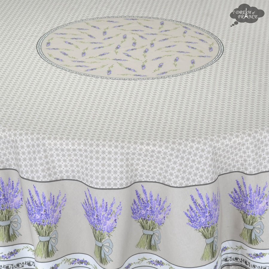 "70"" Round Lavande Natural Cotton Provence Tablecloth by STOF"