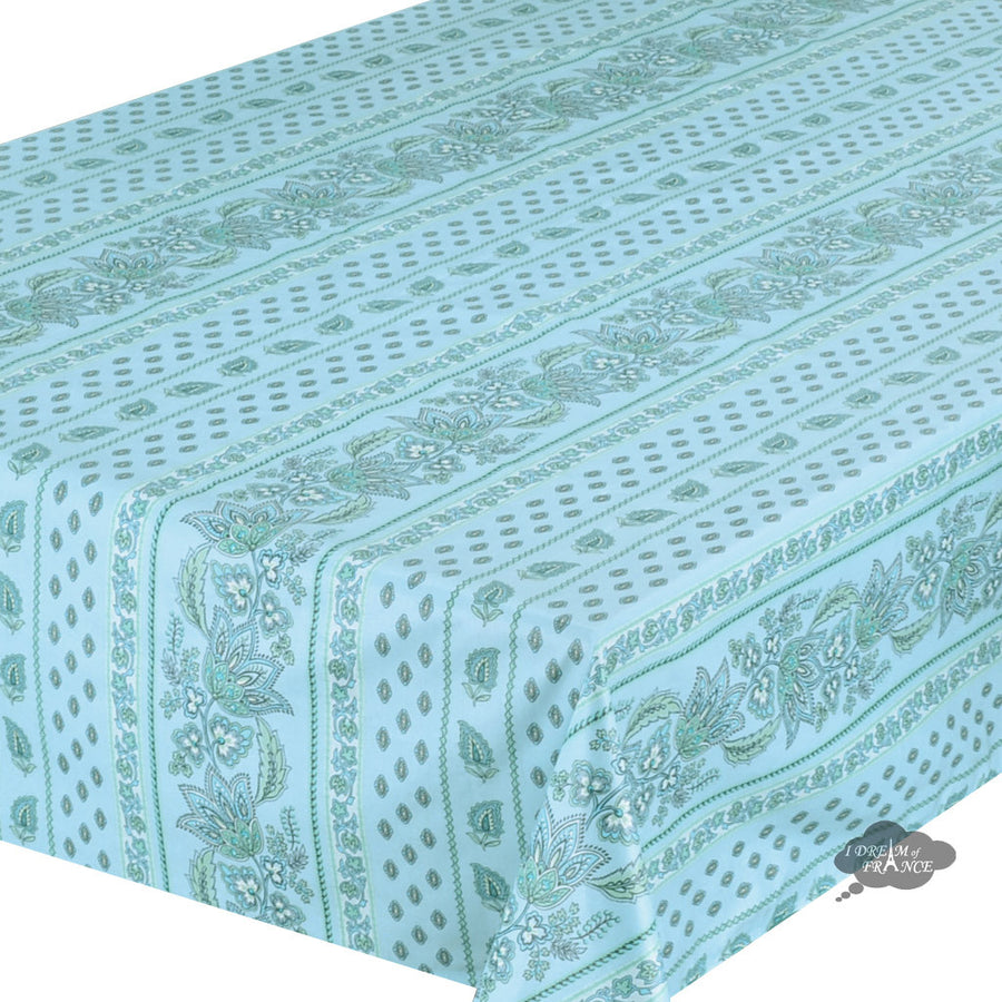 "60x108"" Rectangular Lisa Turquoise Cotton Coated Provence Tablecloth by Le Cluny"