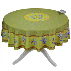 "70"" Round Lavender Green Cotton Coated Provence Tablecloth by Le Cluny"