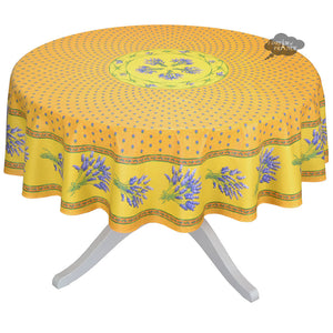 "70"" Round Lavender Yellow Cotton Coated Provence Tablecloth by Le Cluny"