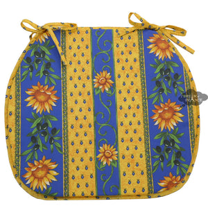 Sunflower Blue Coated French Style Chair Pad by Le Cluny