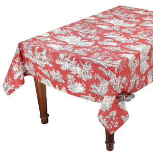 "60x 96"" Rectangular Villandry Red Toile Cotton Coated Provence Tablecloth by Le Cluny"