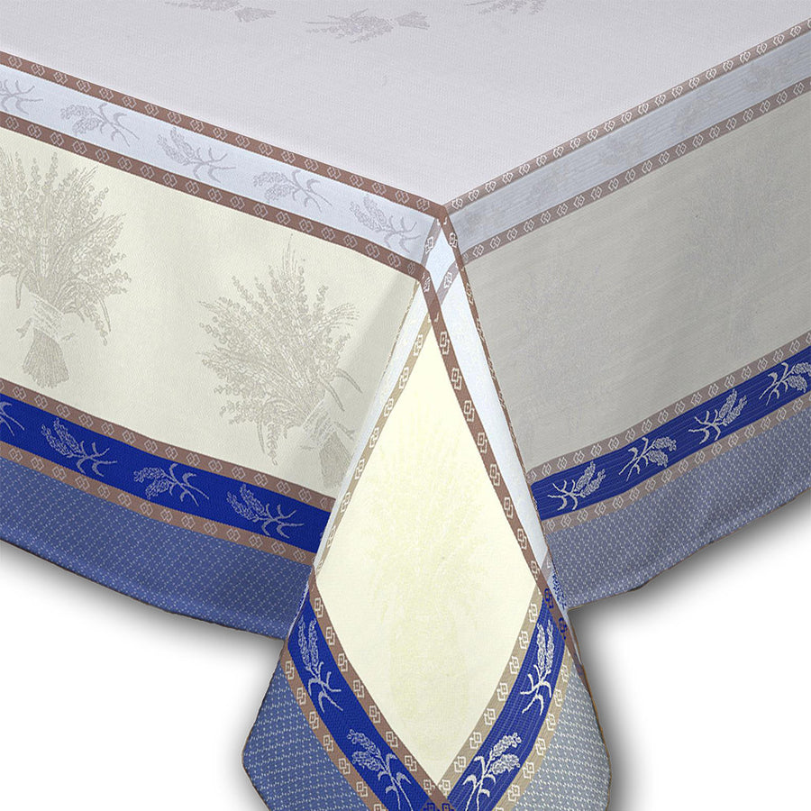 "62x98"" Rectangular Cannes Azure French Jacquard Tablecloth with Teflon"