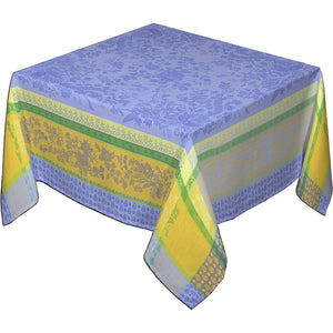 "62x98"" Rectangular Cotignac Blue French Jacquard Tablecloth with Teflon"
