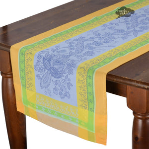 "20x64"" Cotignac Blue French Jacquard Table Runner with Teflon"